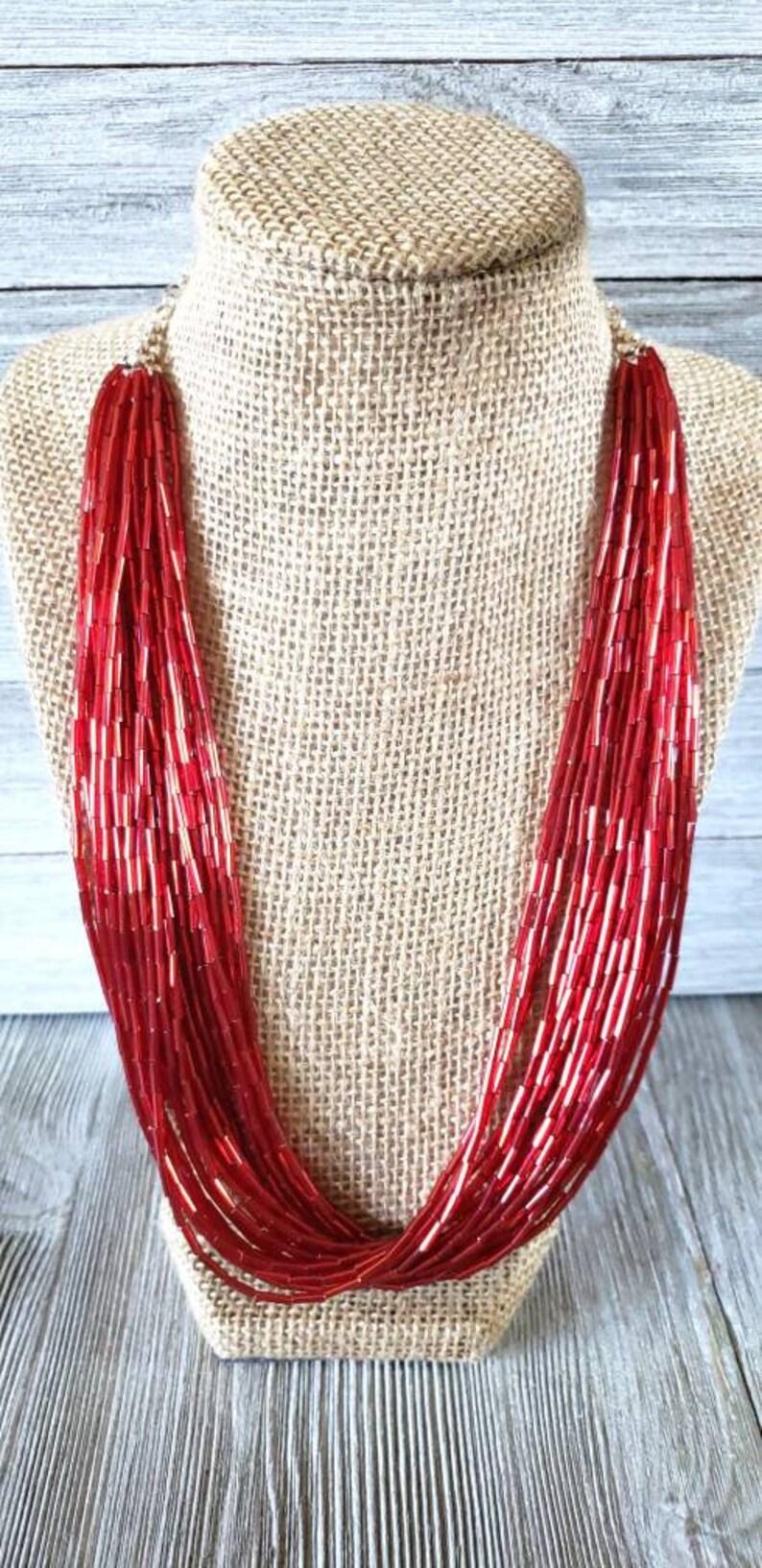 red bugle bead bugle bead multi strand necklace red multi strand necklace Red bugle bead necklace beaded neckla bright red necklace