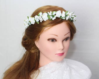 white flower girl crown, flower girl flower headband first communion crown, white baby halo, white flower crown, holy communion baptism halo