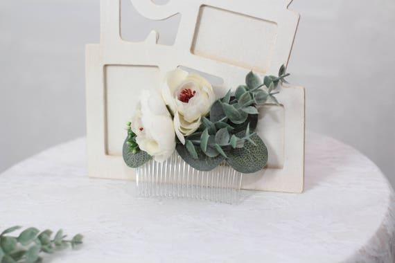 Eucalyptus hair comb silk flowers hair comb bridal hair comb etsy image 0 mightylinksfo