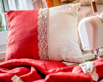 Linen Pillowcase with linen lace trim, red and grey, grey lace trim, gift, wedding, christmas, bedding, home decor, decorative pillowcase