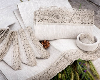 Gift set of linen products for daily life or celebrations - 6 linen napkins, 2 linen towels, 1 linen tablecloth with grey crochet lace trim