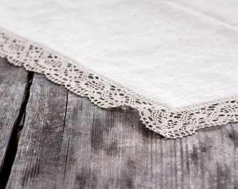 """Linen tablecloth 45"""" x 63'' with grey linen lace trim, vintage, rustic, weddings, table decoration, flax, hotel, kitchen, celebration"""