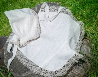 Set of linen apron and bonnet with grey lace trim for housewife, weddings, gifts, kitchen, cooking, traditional, restaurant, hotel, maid