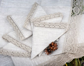 Linen napkins 13'' x 13'' with grey linen lace trim, gift, weddings, table decoration for restaurant, banquet, hotel, kitchen, celebrations
