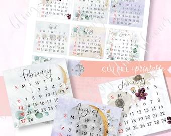 2022 PRINTABLE CALENDAR Stickers, January Monthly Sticker, Printable calendar for Erin Condren, 2022 calender stickers, Moon 2022 calendar