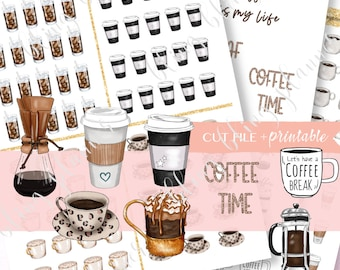 PRINTABLE COFFEE Stickers, Printable hot coffee stickers, various coffee stickers, coffee break sticker, no coffee stickers, coffee quotes