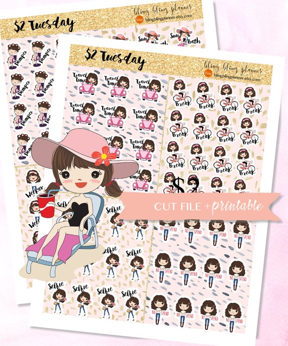 picture about Cute Printable Stickers named Lovely Lady Planner STICKERS, Solar Tub sticker, printable planner stickers, Kawaii lady stickers, weekend stickers, selfie stickers, clipart