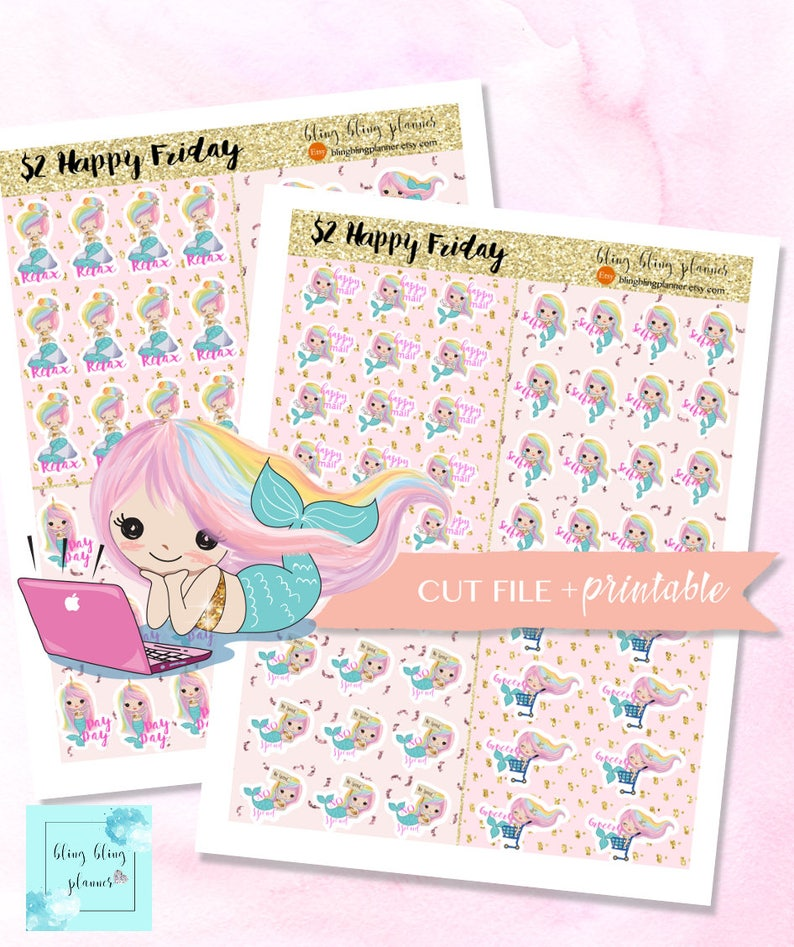 photo regarding Cute Printable Stickers called MERMAID PLANNER STICKERS, lovely printable clipart, printable planner stickers, 2 greenback tuesday, electronic clipart, erin condren stickers