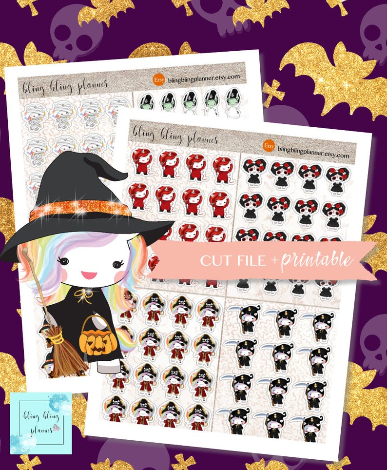 photo about Halloween Stickers Printable referred to as KAWAII HALLOWEEN Stickers, Halloween stickers for planners, printable stickers halloween, Witch Stickers, Oct planner stickers, 2 greenback