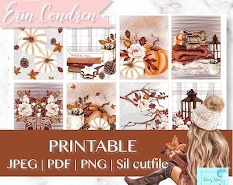 PUMPKIN PLANNER Stickers, Printable Planner Stickers, fall reading planner kit, Fall vibes planner sticker, thanksgiving Erin Condren weekly