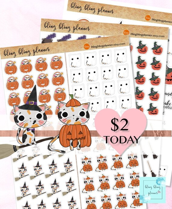 graphic regarding Halloween Stickers Printable named PRINTABLE HALLOWEEN Stickers, Adorable Halloween deco, printable stickers halloween, Cat Stickers, Witch deco, Oct planner sticker, 2 greenback