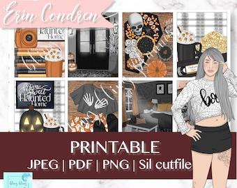 SPOOKY PRINTABLE PLANNER Stickers, Halloween printable kit, haunted house planner sticker, Printable Planner Sticker, October Sticker weekly