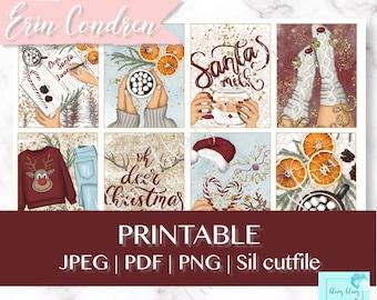 WINTER PLANNER STICKER Kit, winter erin condren sticker set, printable planner stickers, home weekly kit, printable winter planner stickers