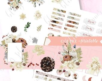 WINTER FUNCTIONAL PRINTABLE sticker, printable quarter box sticker, printable winter floral sticker, Date printable sticker, printable washi