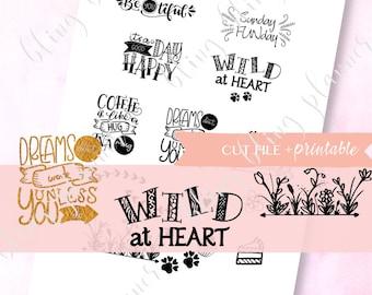 FOIL READY Quote stickers, Printable Decorative Stickers, Printable quote stickers, Foil ready flower stickers, for Erin Condren, foil cake