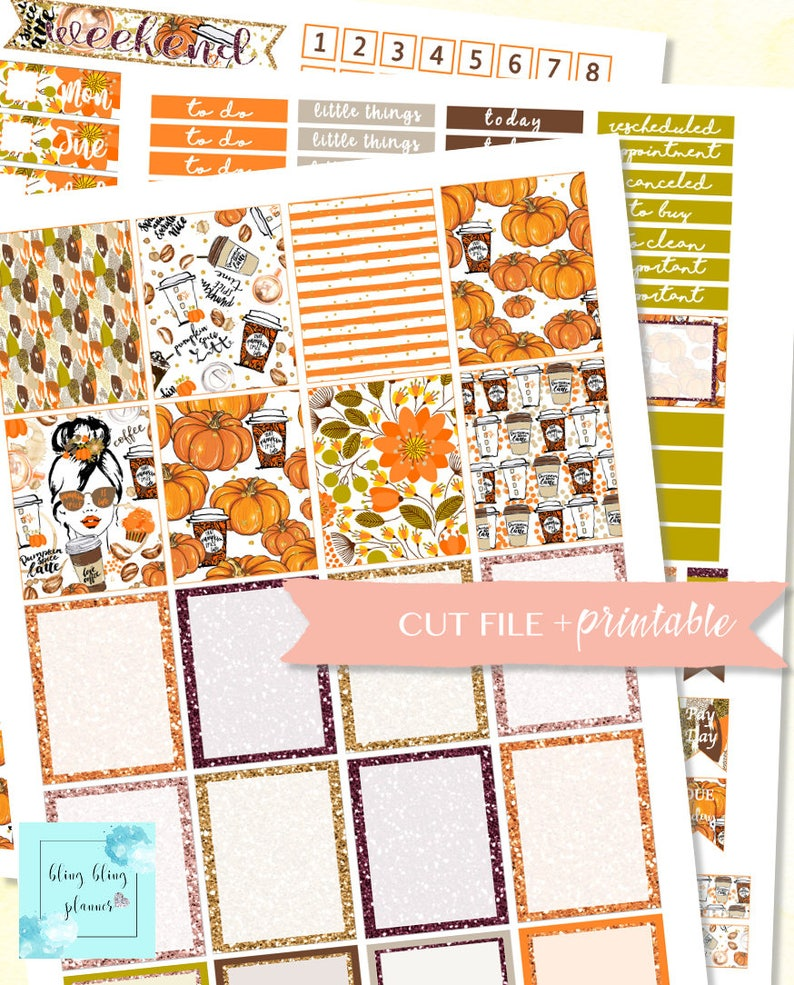 graphic about Thanksgiving Planner Printable identified as AUTUMN PLANNER Package, Thanksgiving planner printable, Drop Printable sticker, oct sticker package, stickers for planners slide, pumpkin planner
