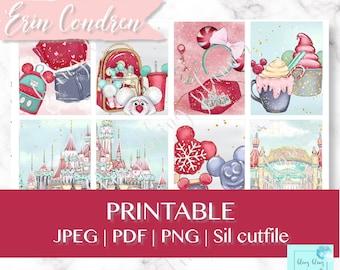 AMUSEMENT PRINTABLE PLANNER Stickers, winter fair planner stickers, christmas planner sticker, amusement park sticker kit, red xmas stickers