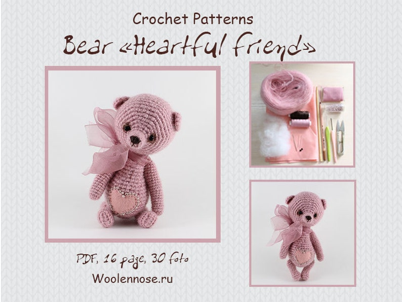 Crochet pattern bear Bear Heartful friend image 0