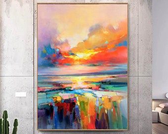 Colorful Sky Painting,Cloud Oil Painting,Landscape Painting on Canvas, Original Art,Large Wall Art, Living Room Decor,Dawn,Sky Abstract Art