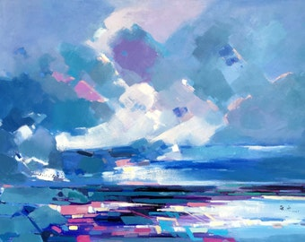138 Original abstract oil painting on canvas:cloudy sky