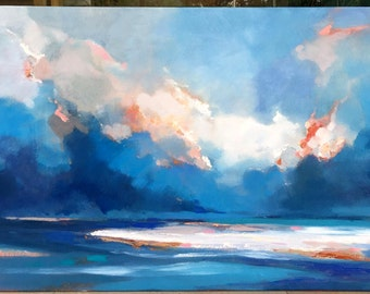 Original abstract oil painting on canvas:Cloudy sky