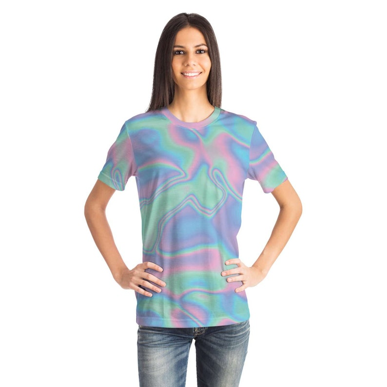 Abstract Holographic Colorful Iridescence T-shirt