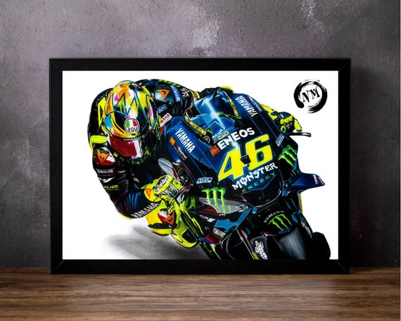 VALENTINO ROSSI PICTURE PRINT MOTO GP HAND DRAWN WALL ART POSTER A4 A3 LIMITED