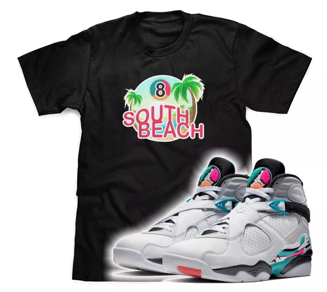 68b57974dd6 South Beach Black T-Shirt To Match Air Jordan Retro 8 South | Etsy