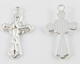 100pcs//pack Gold Tone Alloy Cross Crucifix Pendant Charms DIY Accessories 36585