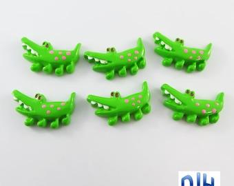 6pcs DIY Resin Crocodile Cabochon Flat Back Cards Scrapbooking Hair Clips