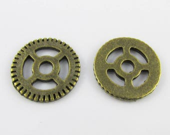 Bulk Steampunk Cog Charm Pendant Antique Bronze 15mm Pack of 10