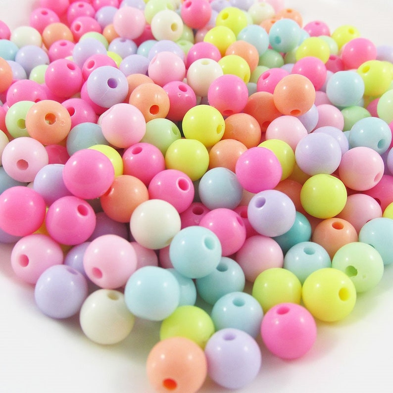 50g 180 Pcs Acrylic Round Craft Beads Bubblegum Pastels 8mm Hole 1 5mm