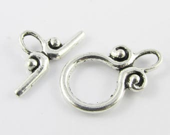Bulk 10 sets DIY Scroll Toggle Clasp Finding 20x12mm Antique Silver