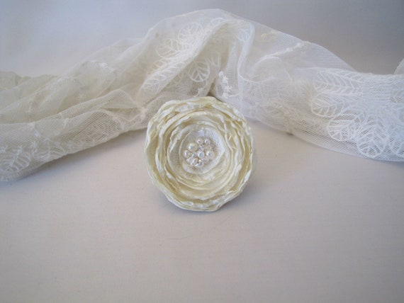 Large Ivory Sheer Floral Fabric Hair Clip or Brooch with Beaded Details