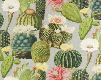 Solid cotton fabric cactus, flowering cacti - pure cotton
