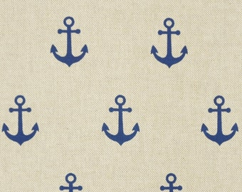 Cotton mix fabric anchor blue on natural - maritim - pocket fabric or curtain fabric