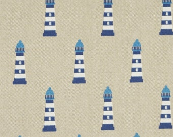 Decorative fabric maritim - lighthouse approx 5 cm in blue on natural - as pocket fabric or curtain fabric