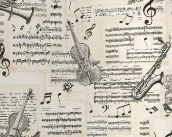 Sheet music and musical instruments - retro Cotton Mix decorative fabric