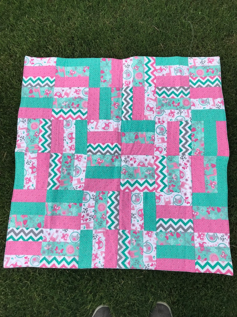 Pink and Brown Monkey Hand Made Baby Quilt