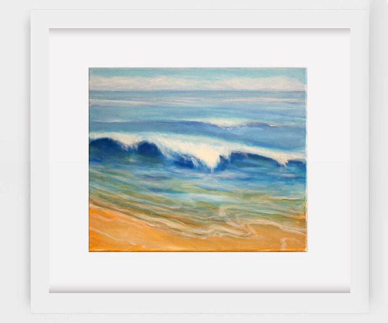 Shoreline, Florida, California, sea shore, beach, blue, sand, color, art,  artwork, home, office, decor, wall art, figurative, abstract