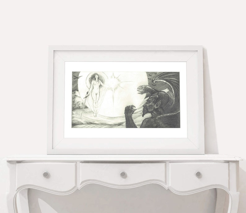 Black and White art decor Angel /& Demon wall art artwork office Drawing Print home pencil Illustration graphite fun