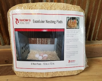 Duncan's Poultry 13x13  Excelsior Nesting Pads - 6 Pack - Nice Thick Nest Pads