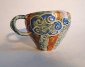 Handmade pottery mug with yellow sun face, ceramic creature coffee cup and tea, housewarming gift, handmade pottery art