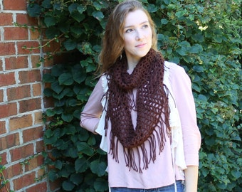 Handmade Crocheted Infinity Scarf with Fringe - Brown