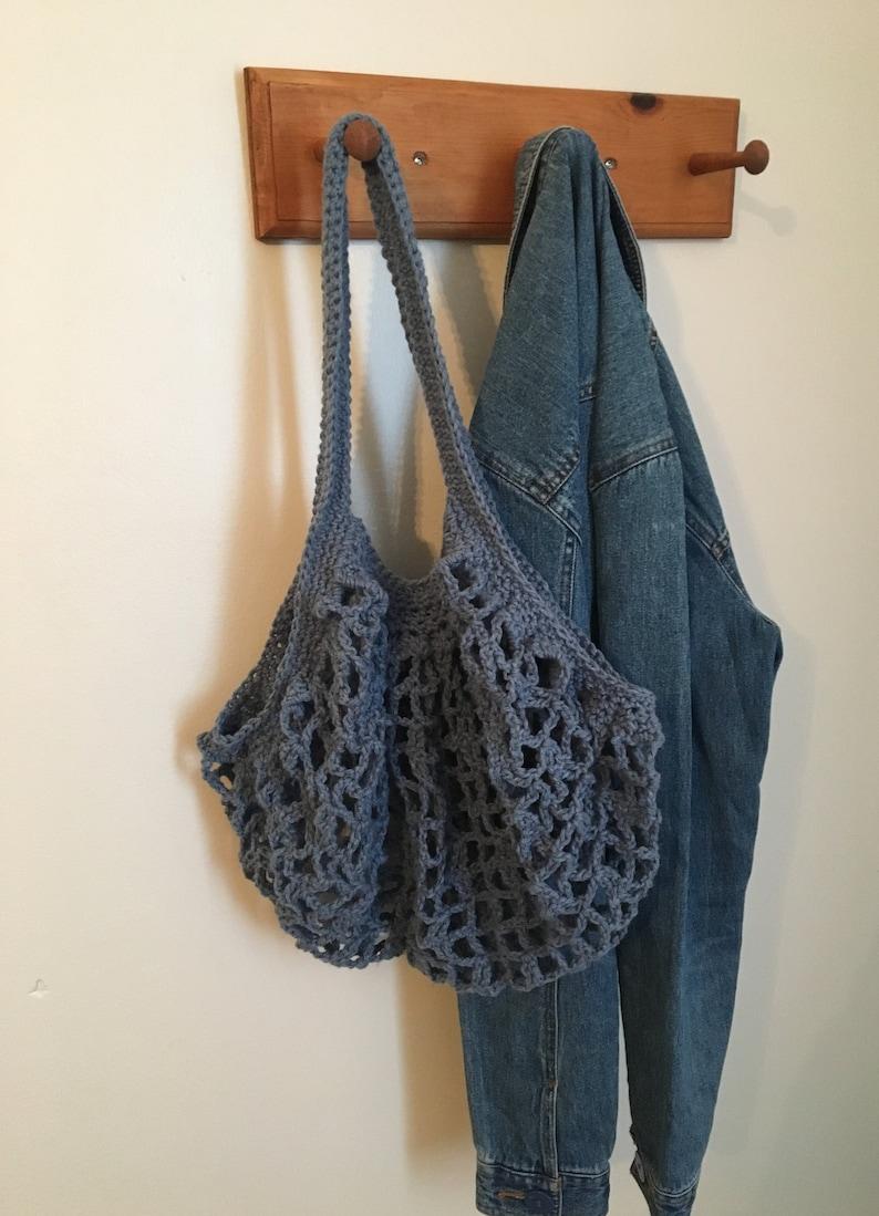 Crocheted Market Bag Light Denim 100/% Cotton