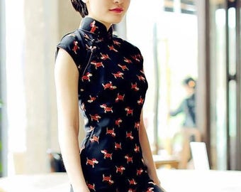 Contemporary Chinese Qipao Dress / Navy Blue / Dog Pattern / Full Length / Chinese Cheongsam / Traditional Cut / Size 8,10,12,14,16