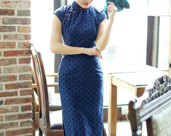 Contemporary Chinese Qipao Dress / Blue / Polkadot / Full Length / Chinese Cheongsam / Traditional Cut / S,M,L,XL