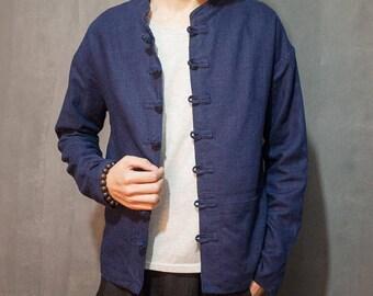 Men's Chinese Style Linen Jacket - Dark Blue