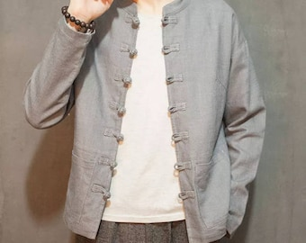 Men's Chinese Style Linen Jacket - Silver Grey
