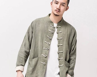 Men's Chinese Linen Jacket / Frog Button / Lined / Mandarin Collar / Navy Blue / Grey Green / S,M,L,XL,XXL